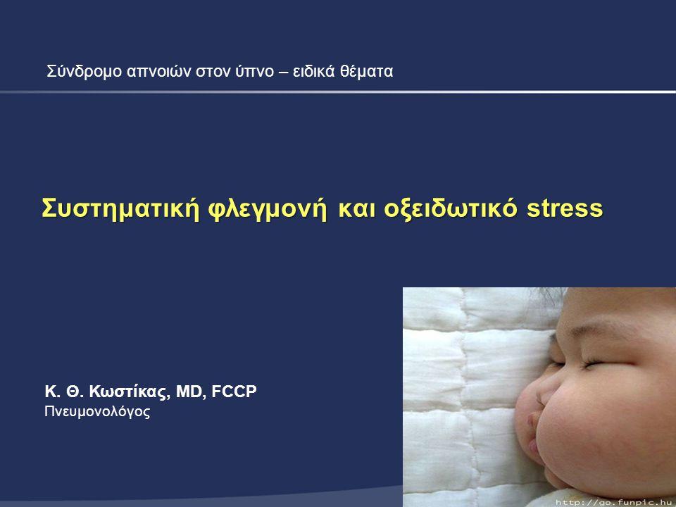 Συμπεράσματα  Υπάρχουν ισχυρές ενδείξεις ότι το ΣΑΥ σχετίζεται με παρουσία συστηματικής φλεγμονής και συστηματικού οξειδωτικού stress  Πολλές από τις κλινικές μελέτες έχουν προβλήματα και γι αυτό το λόγο έχουν αντιφατικά αποτελέσματα –Μικρός αριθμός ασθενών –Συγχυτικοί παράγοντες (κάπνισμα, παχυσαρκία) –Συμμετοχή ασθενών με καρδιαγγειακές παθήσεις  Οι μακροχρόνιες τυχαιοποιημένες μελέτες με CPAP δεν είναι εύκολο να πραγματοποιηθούν για ηθικούς λόγους  Χρειάζονται μεγάλες πολυκεντρικές μελέτες με καλά επιλεγμένους πληθυσμούς  Η μελλοντική αντιμετώπιση του ΣΑΥ μπορεί να στοχεύσει και σε έλεγχο της συστηματικής φλεγμονής και του οξειδωτικού stress