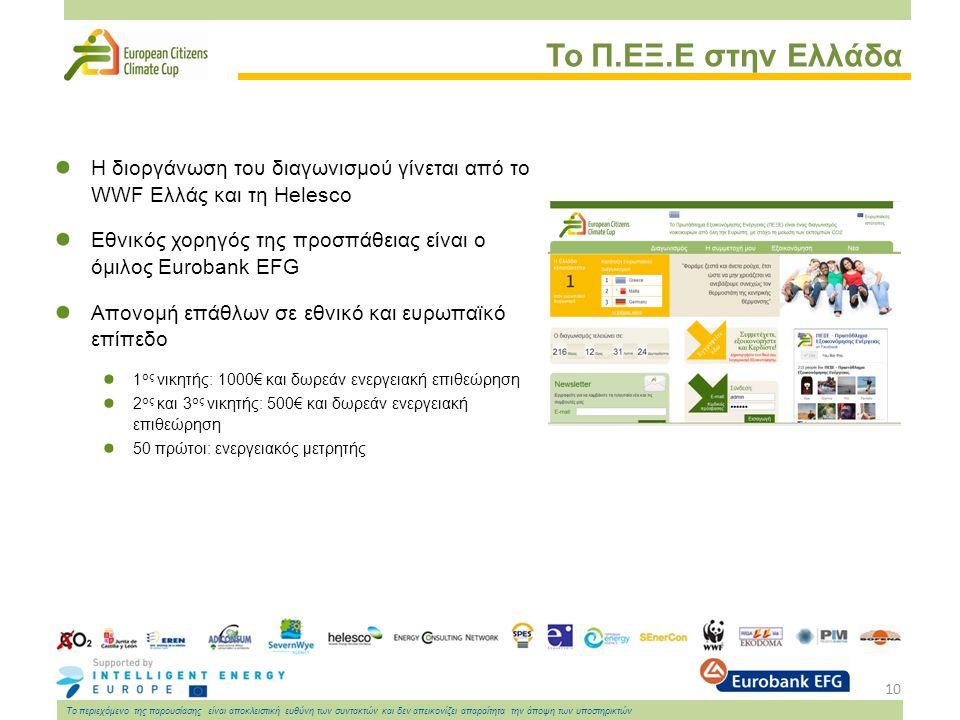 10 Το περιεχόμενο της παρουσίασης είναι αποκλειστική ευθύνη των συντακτών και δεν απεικονίζει απαραίτητα την άποψη των υποστηρικτών Το Π.ΕΞ.Ε στην Ελλάδα Η διοργάνωση του διαγωνισμού γίνεται από το WWF Ελλάς και τη Helesco Εθνικός χορηγός της προσπάθειας είναι ο όμιλος Eurobank EFG Απονομή επάθλων σε εθνικό και ευρωπαϊκό επίπεδο 1 ος νικητής: 1000€ και δωρεάν ενεργειακή επιθεώρηση 2 ος και 3 ος νικητής: 500€ και δωρεάν ενεργειακή επιθεώρηση 50 πρώτοι: ενεργειακός μετρητής