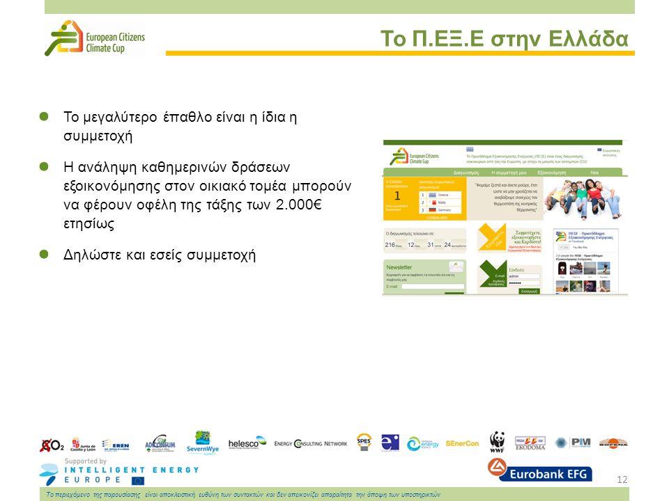 12 Το περιεχόμενο της παρουσίασης είναι αποκλειστική ευθύνη των συντακτών και δεν απεικονίζει απαραίτητα την άποψη των υποστηρικτών Το Π.ΕΞ.Ε στην Ελλάδα Το μεγαλύτερο έπαθλο είναι η ίδια η συμμετοχή Η ανάληψη καθημερινών δράσεων εξοικονόμησης στον οικιακό τομέα μπορούν να φέρουν οφέλη της τάξης των 2.000€ ετησίως Δηλώστε και εσείς συμμετοχή