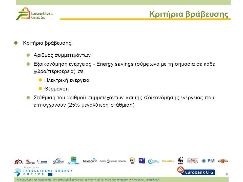 8 Το περιεχόμενο της παρουσίασης είναι αποκλειστική ευθύνη των συντακτών και δεν απεικονίζει απαραίτητα την άποψη των υποστηρικτών Κριτήρια βράβευσης Κριτήρια βράβευσης: Αριθμός συμμετεχόντων Εξοικονόμηση ενέργειας - Energy savings (σύμφωνα με τη σημασία σε κάθε χώρα/περιφέρεια) σε: Ηλεκτρική ενέργεια Θέρμανση Στάθμιση του αριθμού συμμετεχόντων και της εξοικονόμησης ενέργειας που επιτυγχάνουν (25% μεγαλύτερη στάθμιση)