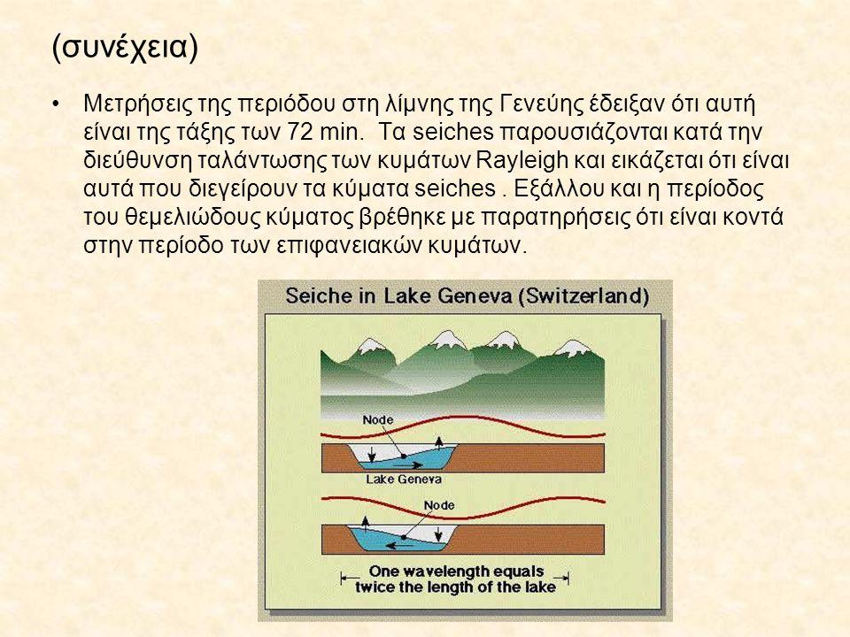 (συνέχεια) Μετρήσεις της περιόδου στη λίμνης της Γενεύης έδειξαν ότι αυτή είναι της τάξης των 72 min. Τα seiches παρουσιάζονται κατά την διεύθυνση ταλ