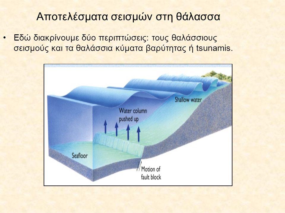 Αποτελέσματα σεισμών στη θάλασσα Εδώ διακρίνουμε δύο περιπτώσεις: τους θαλάσσιους σεισμούς και τα θαλάσσια κύματα βαρύτητας ή tsunamis.