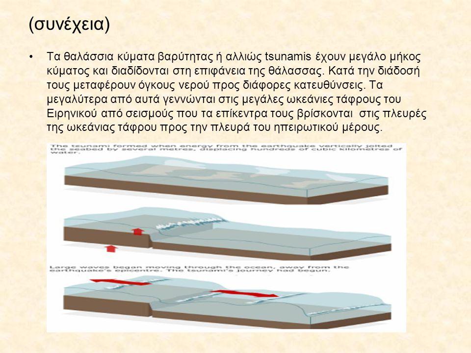 (συνέχεια) Τα θαλάσσια κύματα βαρύτητας ή αλλιώς tsunamis έχουν μεγάλο μήκος κύματος και διαδίδονται στη επιφάνεια της θάλασσας. Κατά την διάδοσή τους