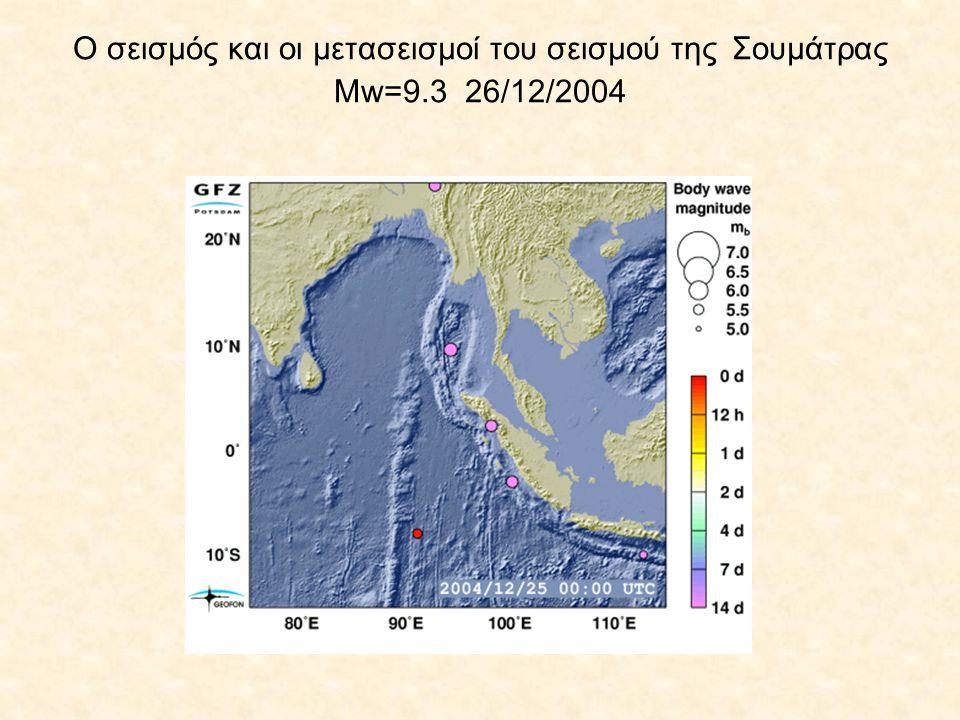 Ο σεισμός και οι μετασεισμοί του σεισμού της Σουμάτρας Μw=9.3 26/12/2004