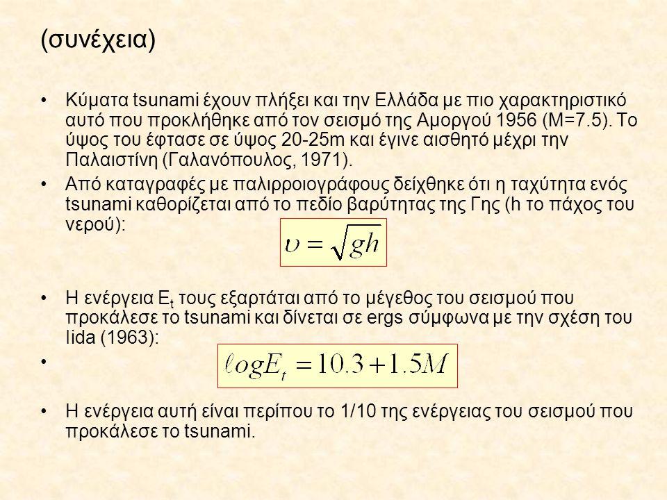 (συνέχεια) Κύματα tsunami έχουν πλήξει και την Ελλάδα με πιο χαρακτηριστικό αυτό που προκλήθηκε από τον σεισμό της Αμοργού 1956 (Μ=7.5). Το ύψος του έ