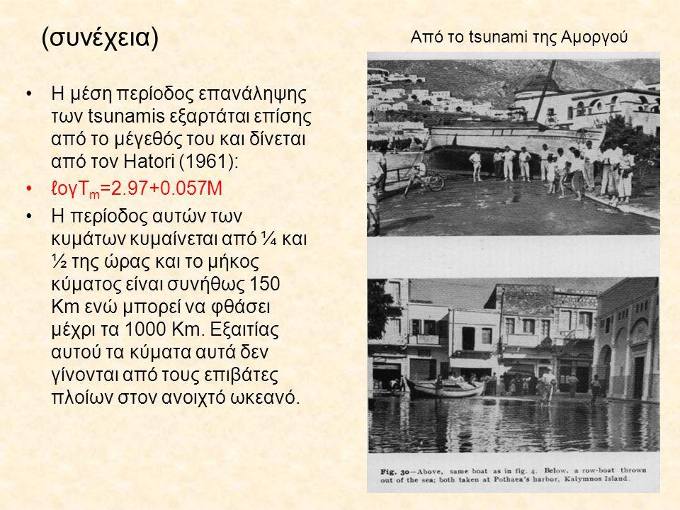 (συνέχεια) Η μέση περίοδος επανάληψης των tsunamis εξαρτάται επίσης από το μέγεθός του και δίνεται από τον Hatori (1961): ℓογΤ m =2.97+0.057Μ Η περίοδ
