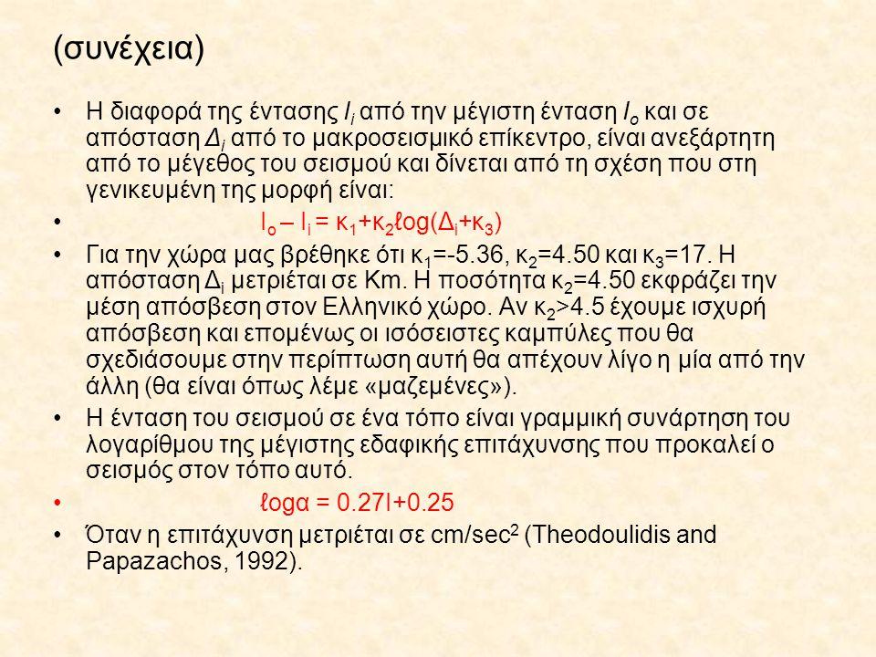 (συνέχεια) Η διαφορά της έντασης Ι i από την μέγιστη ένταση Ι ο και σε απόσταση Δ i από το μακροσεισμικό επίκεντρο, είναι ανεξάρτητη από το μέγεθος το
