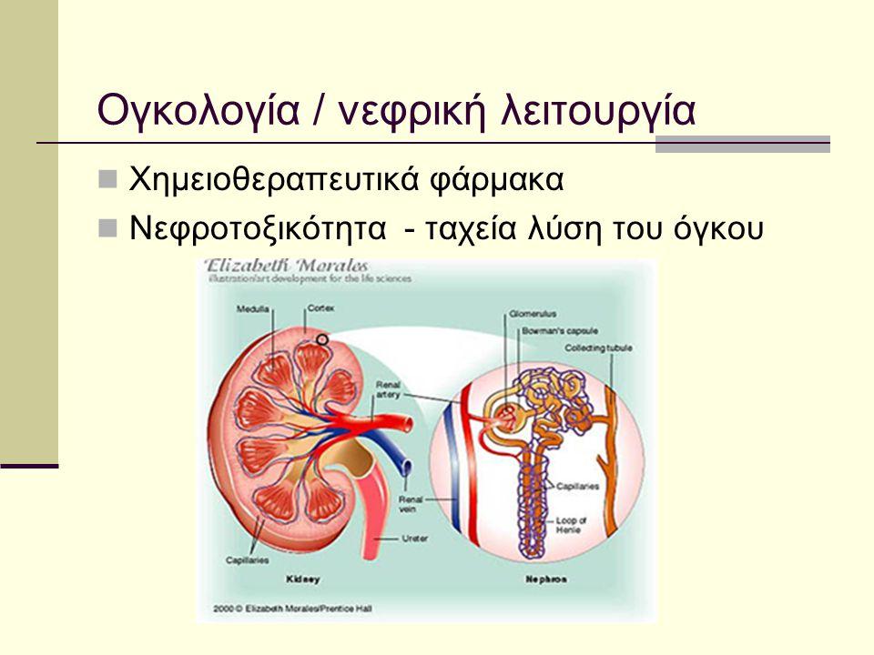 Ογκολογία / νεφρική λειτουργία Χημειοθεραπευτικά φάρμακα Νεφροτοξικότητα - ταχεία λύση του όγκου