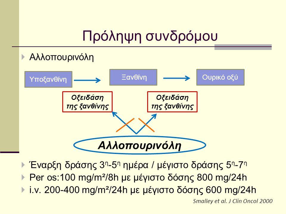  Αλλοπουρινόλη  Έναρξη δράσης 3 η -5 η ημέρα / μέγιστο δράσης 5 η -7 η  Per os:100 mg/m²/8h με μέγιστο δόσης 800 mg/24h  i.v. 200-400 mg/m²/24h με