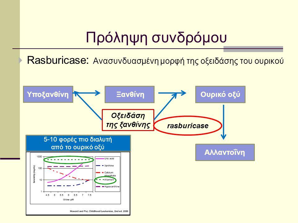  Rasburicase : Ανασυνδυασμένη μορφή της οξειδάσης του ουρικού Υποξανθίνη ΞανθίνηΟυρικό οξύ Οξειδάση της ξανθίνης rasburicase Αλλαντοΐνη 5-10 φορές πι