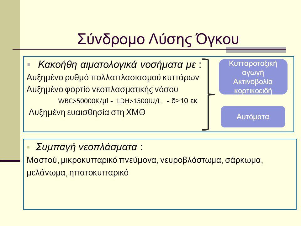 Σύνδρομο Λύσης Όγκου - ορισμός 1929 Hande – Garrow 1993 Cairo – Bishop 2004 Διακρίνεται σε εργαστηριακό και κλινικό