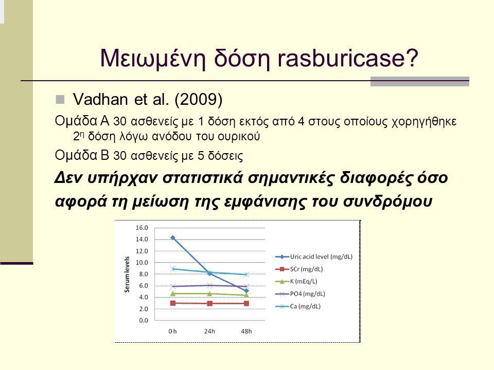 Μειωμένη δόση rasburicase? Vadhan et al. (2009) Ομάδα Α 30 ασθενείς με 1 δόση εκτός από 4 στους οποίους χορηγήθηκε 2 η δόση λόγω ανόδου του ουρικού Ομ