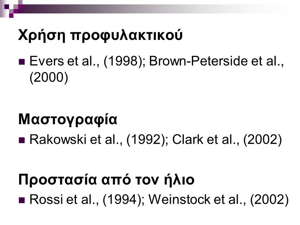 Χρήση προφυλακτικού Evers et al., (1998); Brown-Peterside et al., (2000) Μαστογραφία Rakowski et al., (1992); Clark et al., (2002) Προστασία από τον ή
