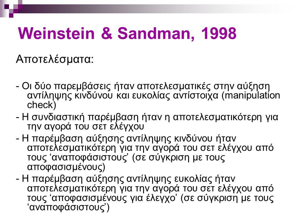 Weinstein & Sandman, 1998 Αποτελέσματα: - Οι δύο παρεμβάσεις ήταν αποτελεσματικές στην αύξηση αντίληψης κινδύνου και ευκολίας αντίστοιχα (manipulation
