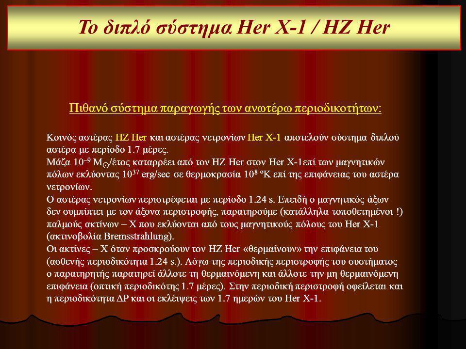 Πιθανό σύστημα παραγωγής των ανωτέρω περιοδικοτήτων: Κοινός αστέρας HZ Her και αστέρας νετρονίων Her X-1 αποτελούν σύστημα διπλού αστέρα με περίοδο 1.