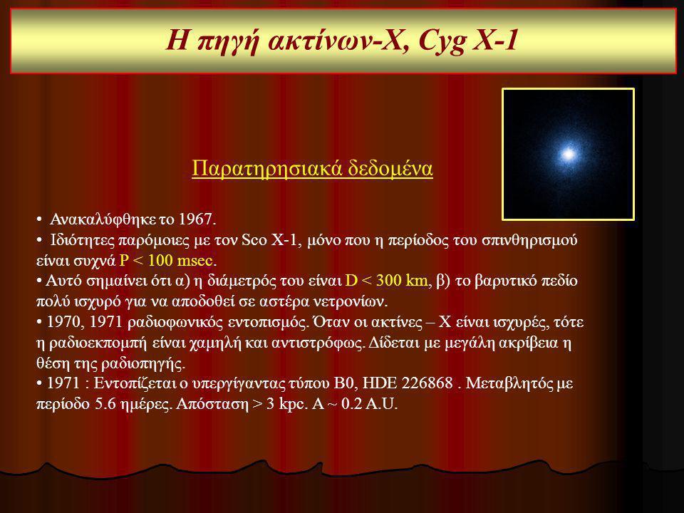 Η πηγή ακτίνων-Χ, Cyg Χ-1 Παρατηρησιακά δεδομένα Ανακαλύφθηκε το 1967. Ιδιότητες παρόμοιες με τον Sco X-1, μόνο που η περίοδος του σπινθηρισμού είναι