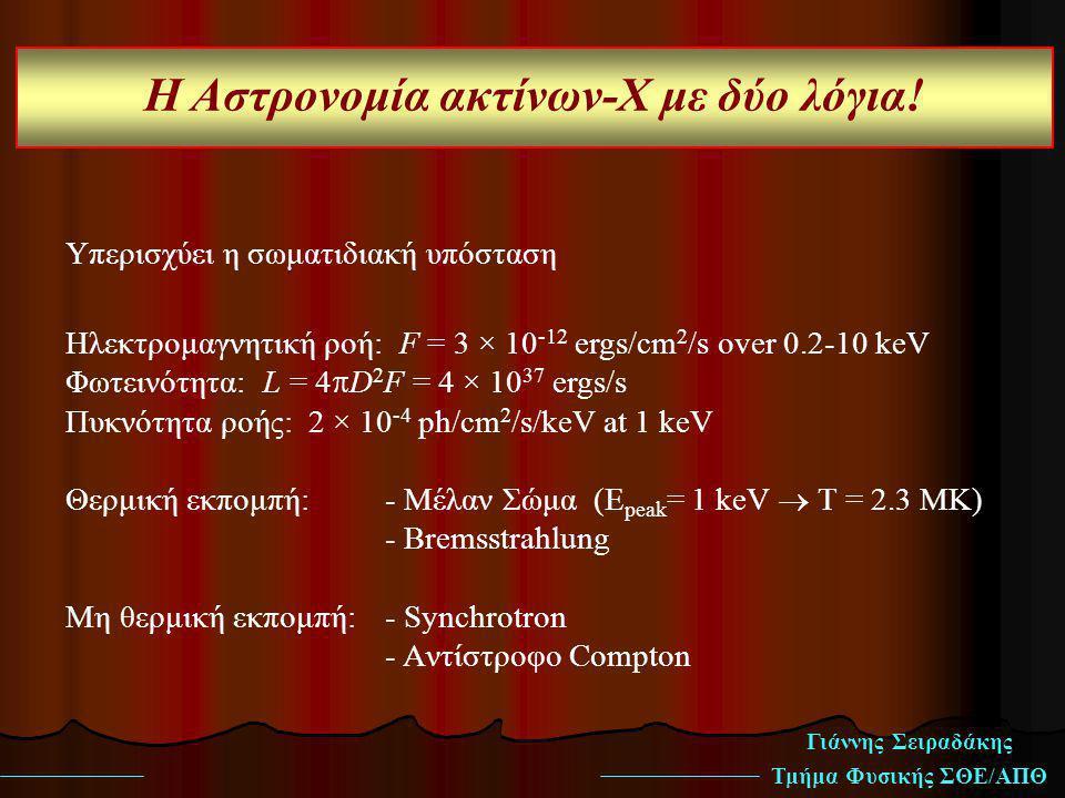 Γιάννης Σειραδάκης Τμήμα Φυσικής ΣΘΕ/ΑΠΘ Η Αστρονομία ακτίνων-Χ με δύο λόγια! Υπερισχύει η σωματιδιακή υπόσταση Ηλεκτρομαγνητική ροή: F = 3 × 10 -12 e