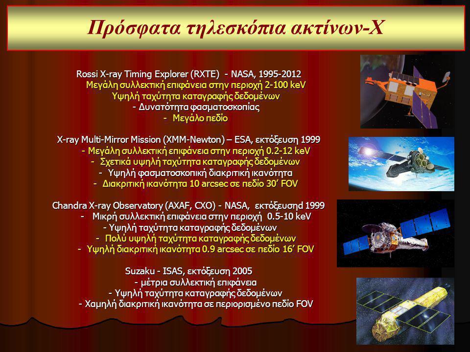 Πρόσφατα τηλεσκόπια ακτίνων-Χ Rossi X-ray Timing Explorer (RXTE) - NASA, 1995-2012 Μεγάλη συλλεκτική επιφάνεια στην περιοχή 2-100 keV Μεγάλη συλλεκτικ