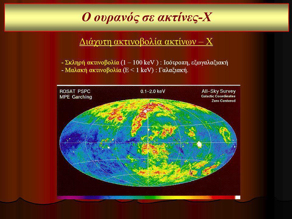 Ο ουρανός σε ακτίνες-Χ Διάχυτη ακτινοβολία ακτίνων – Χ - Σκληρή ακτινοβολία (1 – 100 keV ) : Ισότροπη, εξωγαλαξιακή - Μαλακή ακτινοβολία (Ε < 1 keV) :