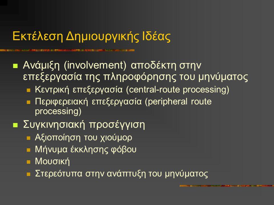 Ανάμιξη (involvement) αποδέκτη στην επεξεργασία της πληροφόρησης του μηνύματος Κεντρική επεξεργασία (central-route processing) Περιφερειακή επεξεργασί