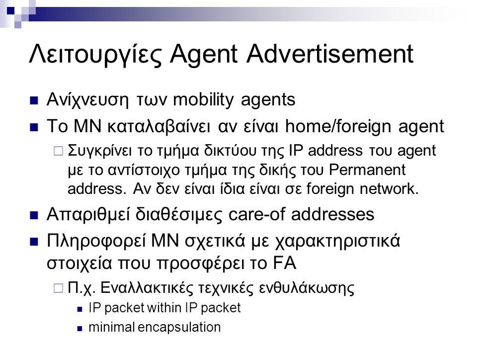 Λειτουργίες Agent Advertisement Ανίχνευση των mobility agents Το MN καταλαβαίνει αν είναι home/foreign agent  Συγκρίνει το τμήμα δικτύου της IP addre