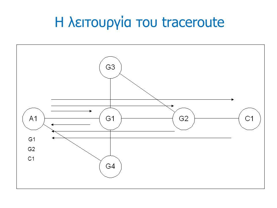 Η λειτουργία του traceroute G1 G2 C1