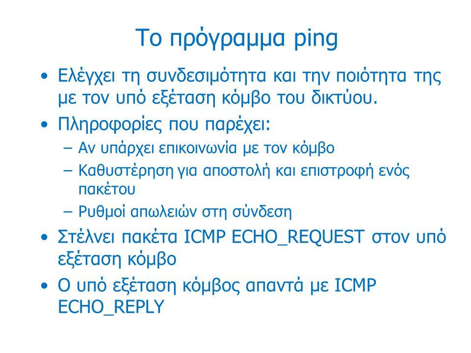 Το πρόγραμμα ping Δυνατότητα του IP πρωτοκόλλου για την καταγραφή της διαδρομής που ακολουθεί ένα πακέτο (Record Route - RFC 791) Ενα πακέτο ping στέλνεται από ένα κόμβο σε έναν προορισμό –Οι ενδιάμεσοι κόμβοι βλέποντας ενεργοποιημένη την επιλογή για καταγραφή της διαδρομής (record route) ενθυλακώνουν στον IP header του PING πακέτου, την δική τους IP διεύθυνση (εξερχόμενο interface)