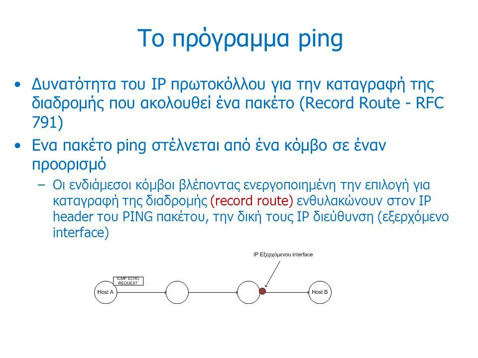 Το πρόγραμμα ping Δυνατότητα του IP πρωτοκόλλου για την καταγραφή της διαδρομής που ακολουθεί ένα πακέτο (Record Route - RFC 791) Ενα πακέτο ping στέλ