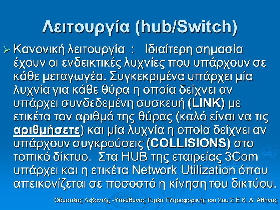 Λειτουργία (hub/Switch)  Κανονική λειτουργία : Ιδιαίτερη σημασία έχουν οι ενδεικτικές λυχνίες που υπάρχουν σε κάθε μεταγωγέα. Συγκεκριμένα υπάρχει μί