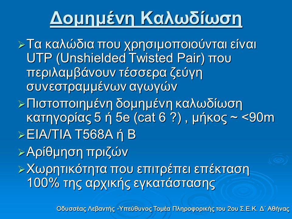 Δομημένη Καλωδίωση Οδυσσέας Λεβαντής -Υπεύθυνος Τομέα Πληροφορικής του 2ου Σ.Ε.Κ. Δ΄ Αθήνας  Τα καλώδια που χρησιμοποιούνται είναι UTP (Unshielded Tw