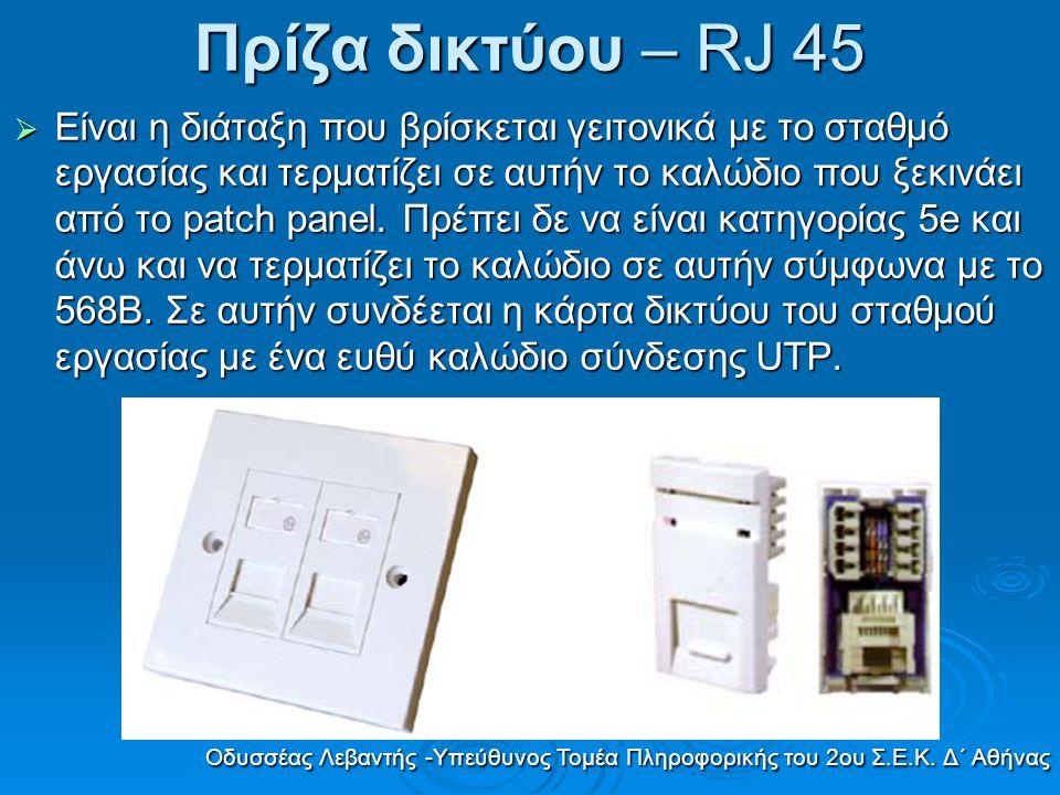 Πρίζα δικτύου – RJ 45  Είναι η διάταξη που βρίσκεται γειτονικά µε το σταθµό εργασίας και τερµατίζει σε αυτήν το καλώδιο που ξεκινάει από το patch pan