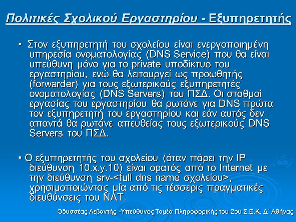 Στον εξυπηρετητή του σχολείου είναι ενεργοποιημένη υπηρεσία ονοματολογίας (DNS Service) που θα είναι υπεύθυνη μόνο για το private υποδίκτυο του εργαστ