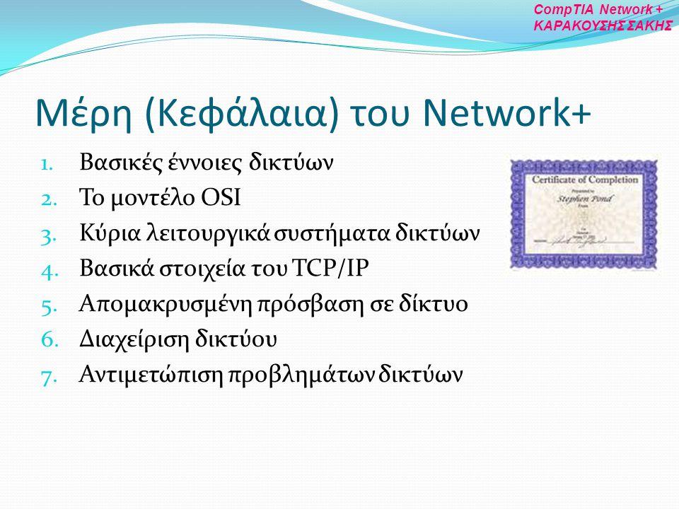 Μέρη (Κεφάλαια) του Network+ 1. Βασικές έννοιες δικτύων 2. Το μοντέλο OSI 3. Κύρια λειτουργικά συστήματα δικτύων 4. Βασικά στοιχεία του TCP/IP 5. Απομ