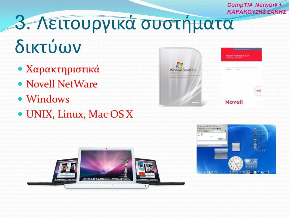 3. Λειτουργικά συστήματα δικτύων Χαρακτηριστικά Novell NetWare Windows UNIX, Linux, Mac OS X CompTIA Network + ΚΑΡΑΚΟΥΣΗΣ ΣΑΚΗΣ