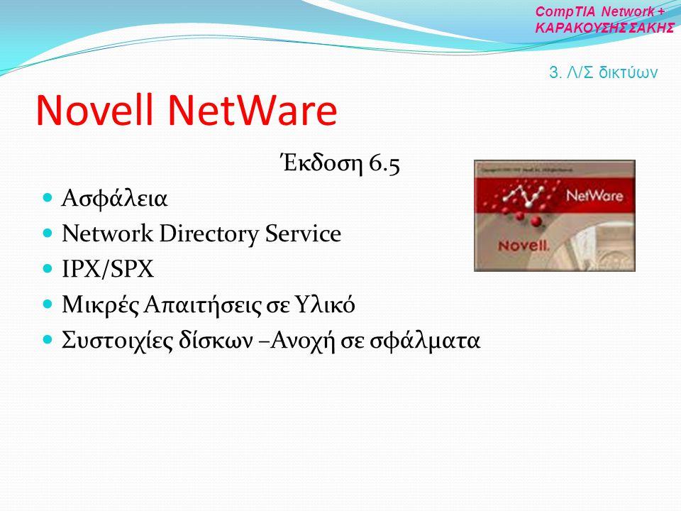 Novell NetWare Έκδοση 6.5 Ασφάλεια Network Directory Service IPX/SPX Μικρές Απαιτήσεις σε Υλικό Συστοιχίες δίσκων –Ανοχή σε σφάλματα 3. Λ/Σ δικτύων Co