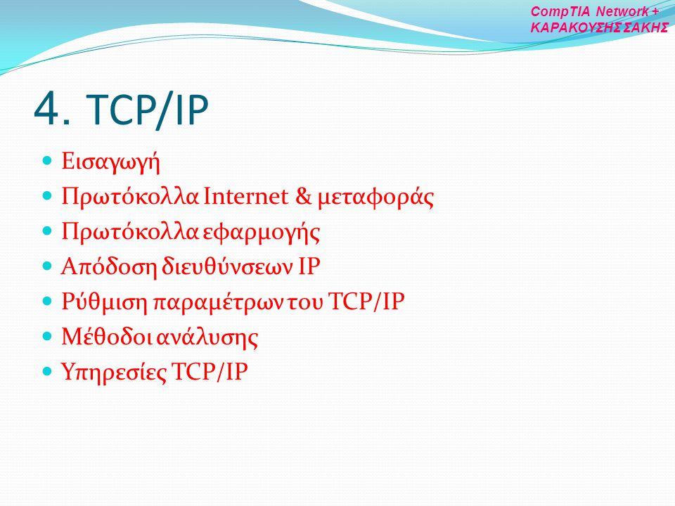 4. TCP/IP Εισαγωγή Πρωτόκολλα Internet & μεταφοράς Πρωτόκολλα εφαρμογής Απόδοση διευθύνσεων IP Ρύθμιση παραμέτρων του TCP/IP Μέθοδοι ανάλυσης Υπηρεσίε