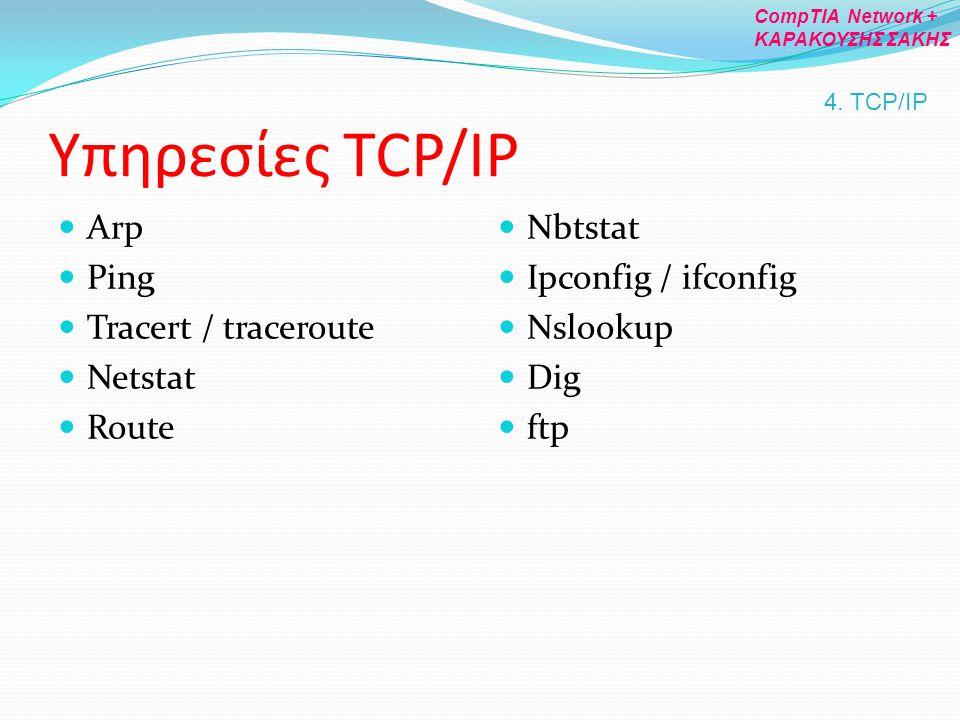 Υπηρεσίες TCP/IP Arp Ping Tracert / traceroute Netstat Route Nbtstat Ipconfig / ifconfig Nslookup Dig ftp 4. TCP/IP CompTIA Network + ΚΑΡΑΚΟΥΣΗΣ ΣΑΚΗΣ