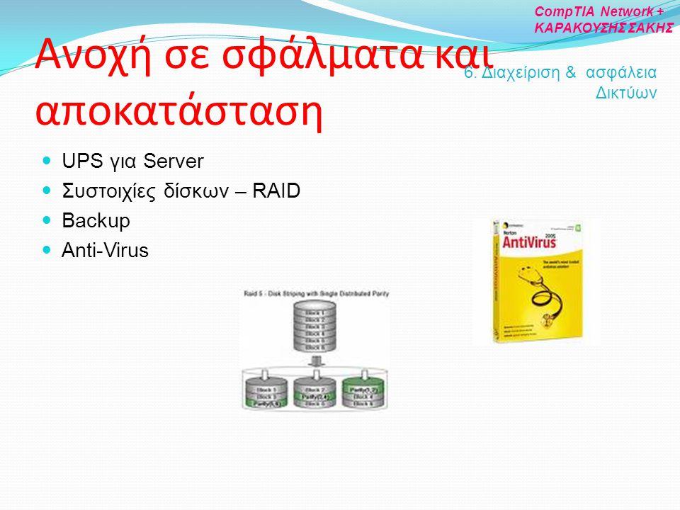 Ανοχή σε σφάλματα και αποκατάσταση UPS για Server Συστοιχίες δίσκων – RAID Backup Anti-Virus 6. Διαχείριση & ασφάλεια Δικτύων CompTIA Network + ΚΑΡΑΚΟ