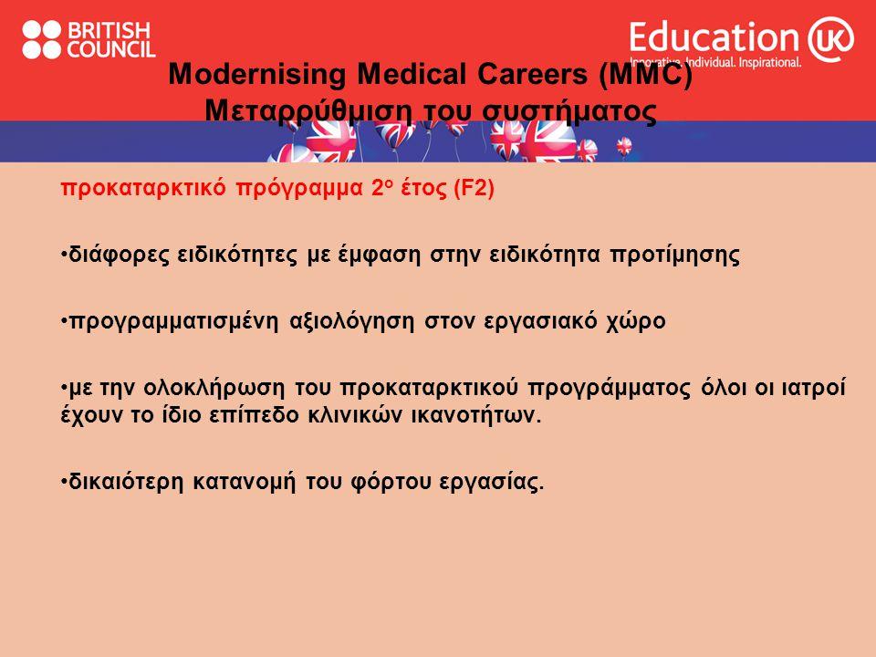Ανώτερο τμήμα εκπαίδευσης ειδικότητας Specialist Run Through Training programme οι ιατροί κάνουν ηλεκτρονική αίτηση για μια θέση σε ολοκληρωμένο πρόγραμμα ιατρικής ειδικότητας μετά το τέλος του F2.*** Modernising Medical Careers (MMC) Μεταρρύθμιση του συστήματος