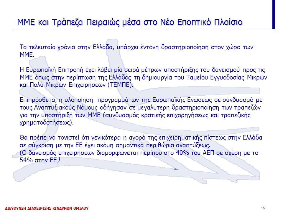 15 ΜΜΕ και Τράπεζα Πειραιώς μέσα στο Νέο Εποπτικό Πλαίσιο Τα τελευταία χρόνια στην Ελλάδα, υπάρχει έντονη δραστηριοποίηση στον χώρο των ΜΜΕ. Η Ευρωπαϊ