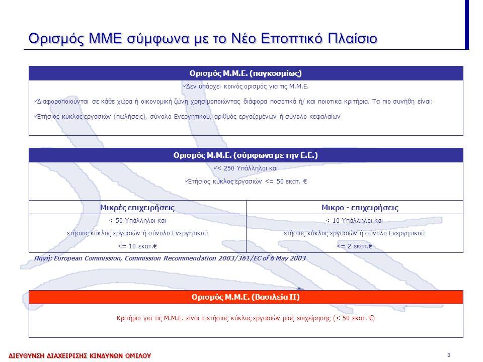 3 Ορισμός ΜΜΕ σύμφωνα με το Νέο Εποπτικό Πλαίσιο Κριτήριο για τις Μ.Μ.Ε. είναι ο ετήσιος κύκλος εργασιών μιας επιχείρησης (< 50 εκατ. €) Ορισμός Μ.Μ.Ε