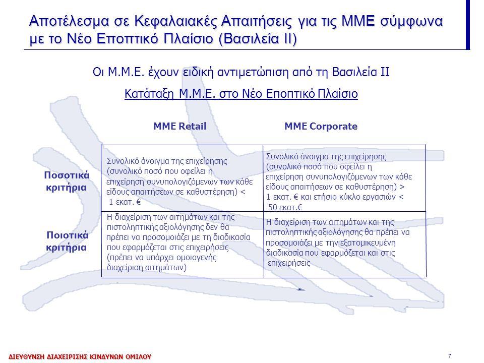 7 Οι Μ.Μ.Ε. έχουν ειδική αντιμετώπιση από τη Βασιλεία ΙΙ Κατάταξη Μ.Μ.Ε. στο Νέο Εποπτικό Πλαίσιο Αποτέλεσμα σε Κεφαλαιακές Απαιτήσεις για τις ΜΜΕ σύμ
