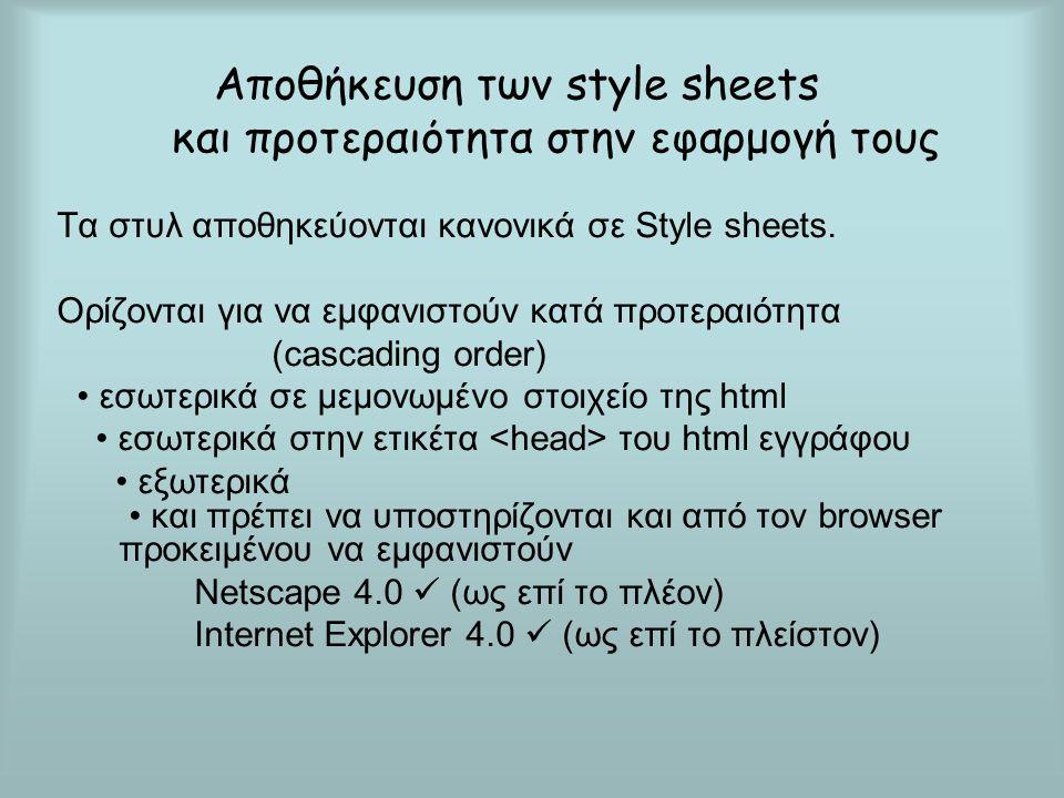 Tι ιδιότητες μπορούμε να ρυθμίσουμε με την CSS Φόντο (χρώμα, εικόνα, θέση) Κείμενο (χρώμα, κατεύθυνση, στοίχιση, διακόσμηση) Γραμματοσειρά (οικογένεια, μέγεθος, ιδιαιτερότητες) Όρια (πλάτος, στυλ, χρώμα) Περιθώρια (μέγεθος) Padding (διάστημα ανάμεσα στο όριο / γραμμή και το περιεχόμενο) (μέγεθος) Λίστες (θέση, στυλ)