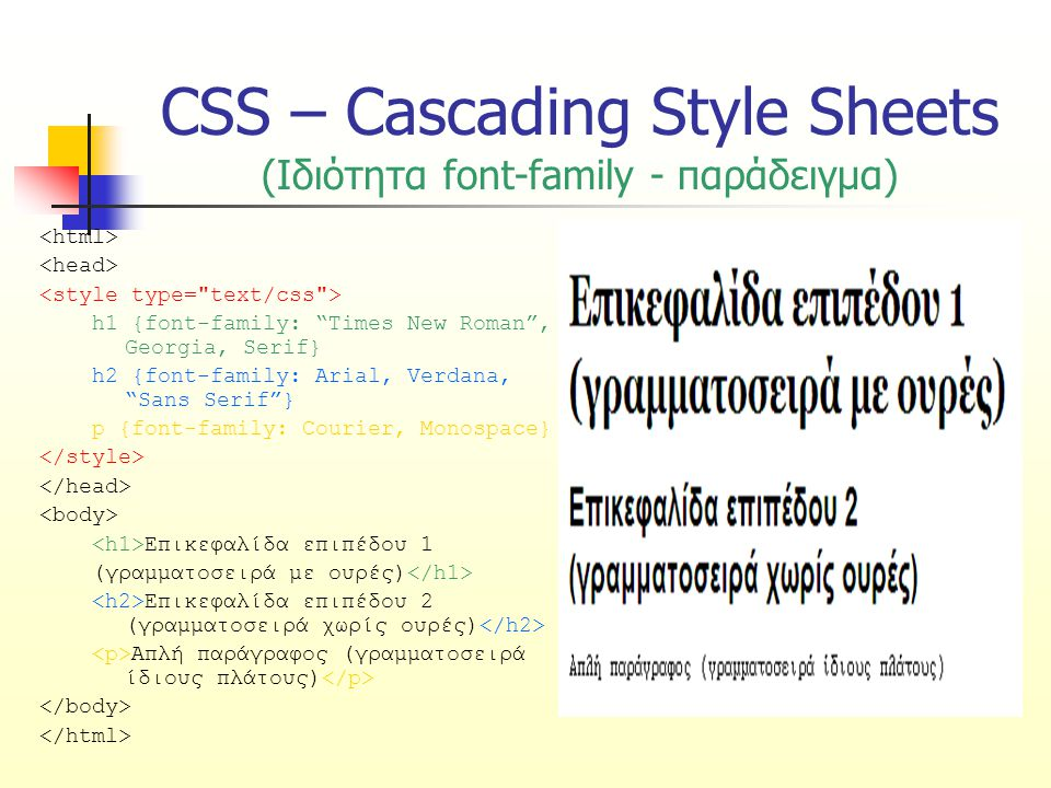 "CSS – Cascading Style Sheets (Ιδιότητα font-family - παράδειγμα) h1 {font-family: ""Times New Roman"", Georgia, Serif} h2 {font-family: Arial, Verdana,"
