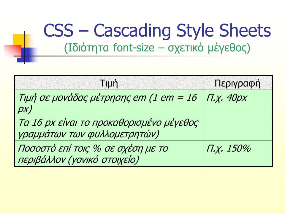 CSS – Cascading Style Sheets (Ιδιότητα font-size – σχετικό μέγεθος) ΤιμήΠεριγραφή Τιμή σε μονάδας μέτρησης em (1 em = 16 px) Τα 16 px είναι το προκαθο