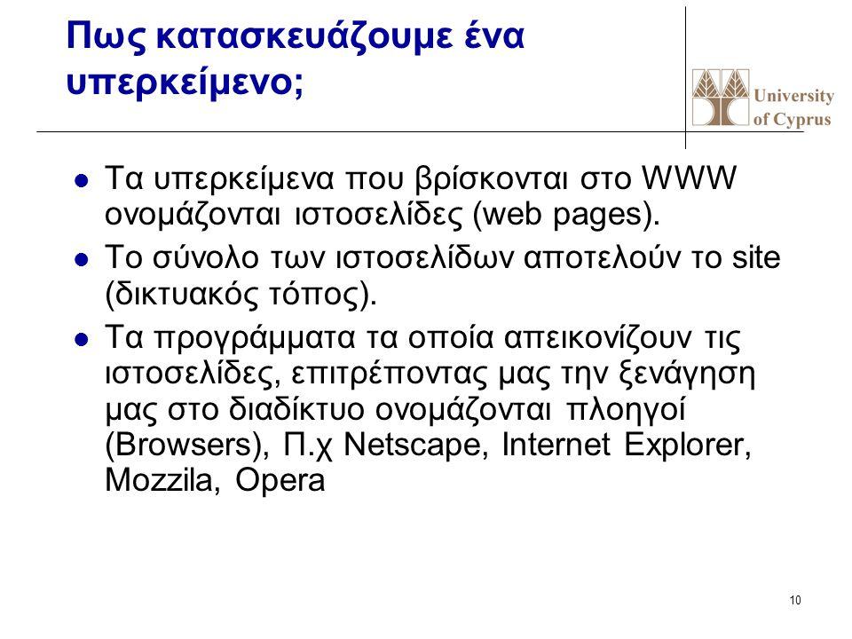 10 Πως κατασκευάζουμε ένα υπερκείμενο; Τα υπερκείμενα που βρίσκονται στο WWW ονομάζονται ιστοσελίδες (web pages). Το σύνολο των ιστοσελίδων αποτελούν