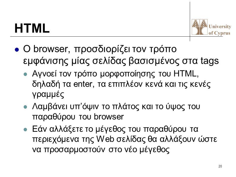 20 HTML O browser, προσδιορίζει τον τρόπο εμφάνισης μίας σελίδας βασισμένος στα tags Αγνοεί τον τρόπο μορφοποίησης του HTML, δηλαδή τα enter, τα επιπλ