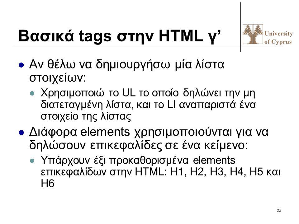 23 Bασικά tags στην HTML γ' Αν θέλω να δημιουργήσω μία λίστα στοιχείων: Χρησιμοποιώ το UL το οποίο δηλώνει την μη διατεταγμένη λίστα, και το LI αναπαρ