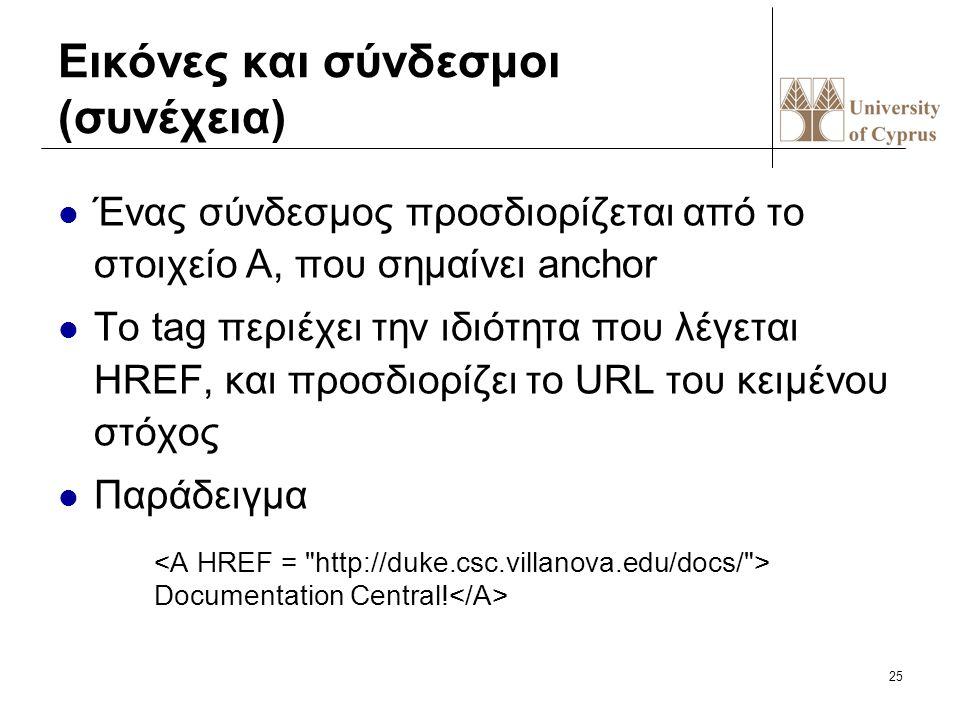 25 Εικόνες και σύνδεσμοι (συνέχεια) Ένας σύνδεσμος προσδιορίζεται από το στοιχείo A, που σημαίνει anchor To tag περιέχει την ιδιότητα που λέγεται HREF