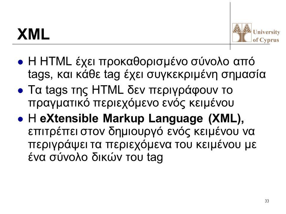 33 XML Η HTML έχει προκαθορισμένο σύνολο από tags, και κάθε tag έχει συγκεκριμένη σημασία Τα tags της HTML δεν περιγράφουν το πραγματικό περιεχόμενο ε